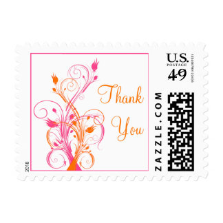 Orange, Pink, and White Floral Thank You Postage