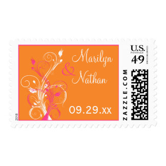 Orange, Pink, and White Floral Wedding Postage