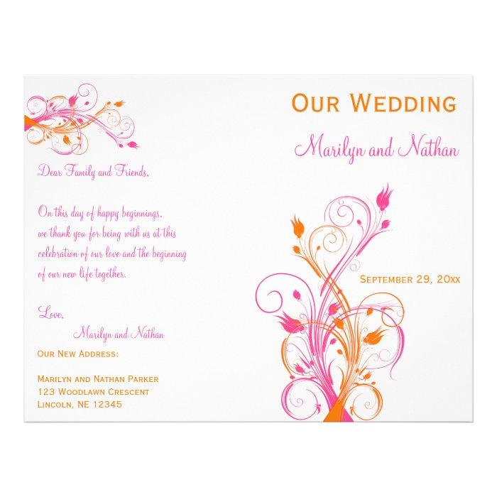 Orange, Pink, and White Floral Wedding Program
