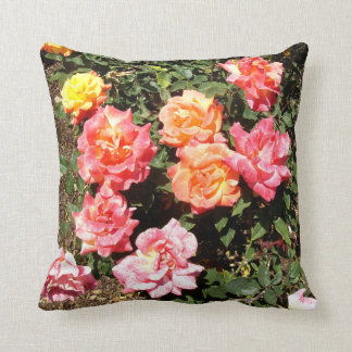 Orange Pink And Yellow Roses Pillow
