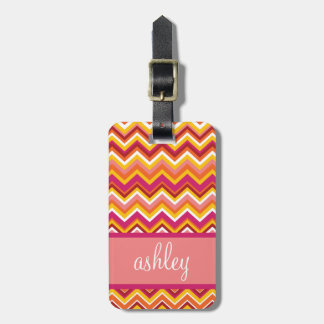 Orange Pink Chevron Pattern with Monogram Tags For Bags