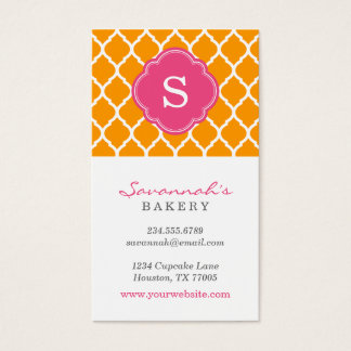 Orange & Pink Chic Moroccan Lattice Monogram Business Card
