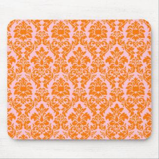 Orange & Pink Damask Mouse Pad