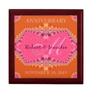 Orange + Pink Damask Wedding Anniversary Gift Box