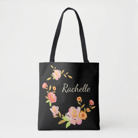 Orange & Pink Floral Custom Monogram Tote Bag