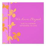 Orange Pink Floral Elopement Announcement Cards