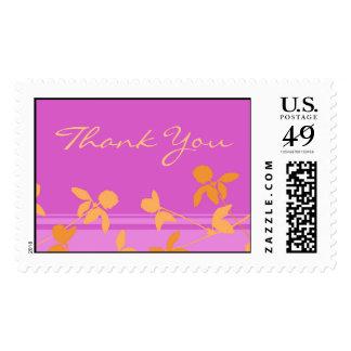 Orange Pink Floral Thank You Wedding Stamps