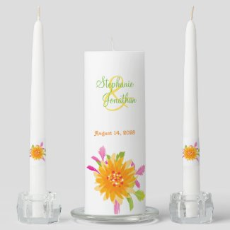 Orange Pink Floral Wedding Unity Candle Set