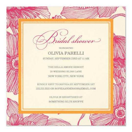 ORANGE + PINK FLOWERS | BRIDAL SHOWER INVITE
