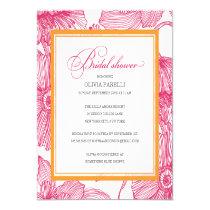 "ORANGE + PINK FLOWERS | BRIDAL SHOWER INVITE 5.25"" SQUARE INVITATION CARD"