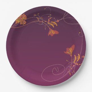 Orange Pink Flowers Vines Purple Background Paper Plate