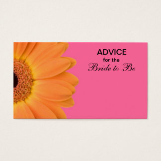 Orange & Pink Gerber Daisy Advice for the Bride Business Card