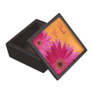 Orange Pink Gerber Daisy Wedding Gift Box Premium Keepsake Boxes