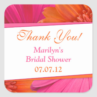 Orange Pink Gerbera Daisy Bridal Shower Thank You Square Sticker