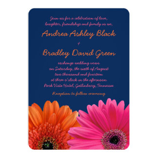 Orange Pink Gerbera Daisy Navy Wedding Invitation