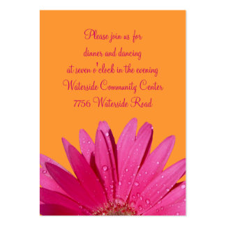 Orange & Pink Gerbera Daisy Reception Card Large Business Cards (Pack Of 100)
