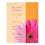 Orange & Pink Gerbera Daisy Save the Date Card Announcements