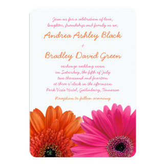 Orange Pink Gerbera Daisy Wedding Invitation