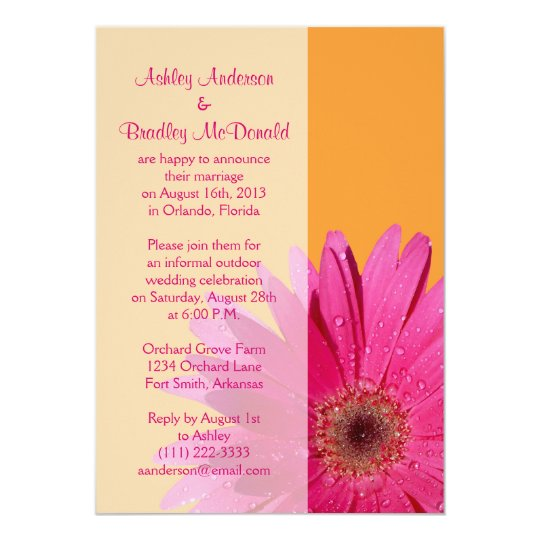 Hot Pink Gerbera Daisy White Wedding Invitation 5 X 7: Orange Pink Gerbera Daisy Wedding Reception Only Card
