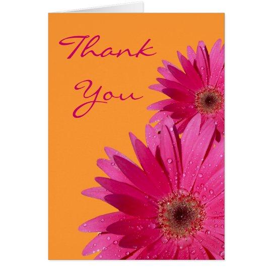 Orange Pink Gerbera Daisy Wedding Thank You Card