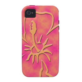 Orange & Pink Hawaiian Floral print Case-Mate iPhone 4 Cases