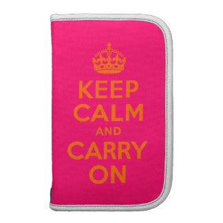 Orange Pink Keep Calm and Carry On Folio Planner