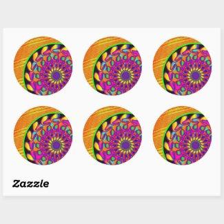 Orange & Pink Mandala Classic Round Sticker