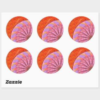 Orange & Pink Mandala Envelope Stickers