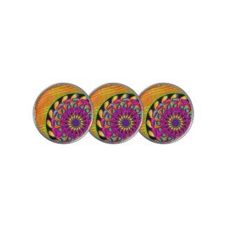 Orange & Pink Mandala Golf Ball Marker