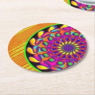 Orange & Pink Mandala Paper Coaster