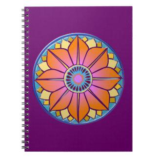 orange&pink mandala spiral notebook