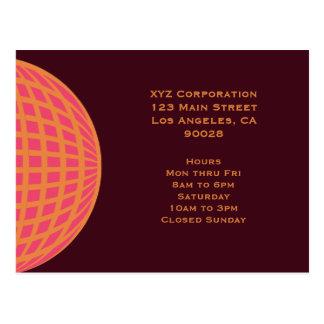 orange pink modern global circle post card