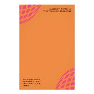 orange pink modern global circle stationery