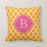 Orange & Pink Modern Moroccan Custom Monogram Pillows