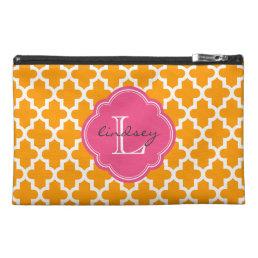 Orange & Pink Modern Moroccan Custom Monogram Travel Accessory Bag