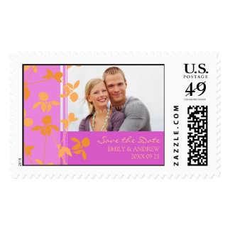 Orange Pink Photo Save the Date Wedding Stamps