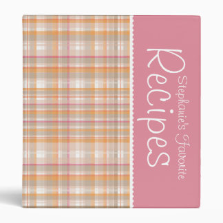 Orange & Pink Picnic Plaid Personalized Recipe Binder