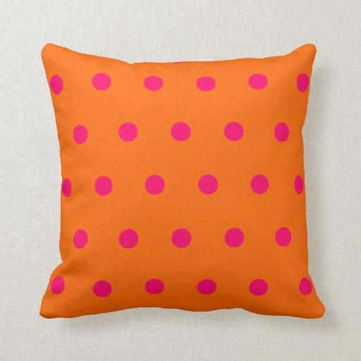 Orange And Pink Decorative Pillows : Orange Pink Polka Dots Throw Pillow Zazzle