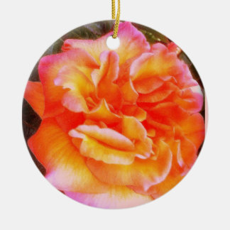 Orange Pink Rose Ornament