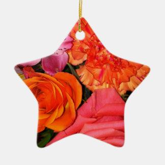 Orange & Pink Roses Bouquet Ceramic Ornament