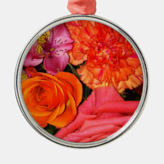 Orange & Pink Roses Bouquet Metal Ornament