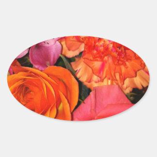 Orange & Pink Roses Bouquet Oval Sticker