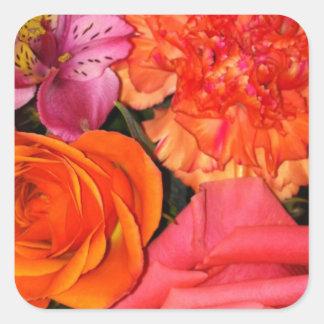 Orange & Pink Roses Bouquet Square Sticker