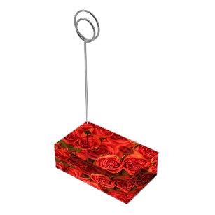 Orange Pink Roses Table Card Holder