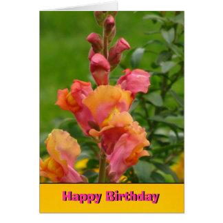 Orange Pink Snapdragon Happy Birthday Card