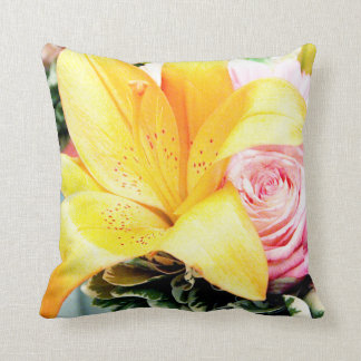 orange pink star lily rose floral picture bright pillow