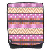 Orange & Pink Stripes Polka Dots Chevron Pattern Backpack
