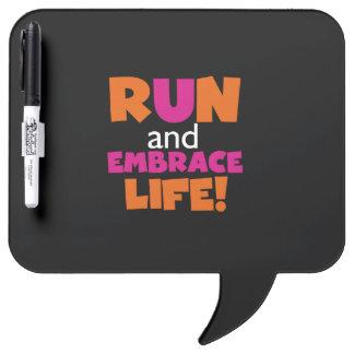 Orange Pink Text Fitness Running Runner Marathon Dry Erase Board