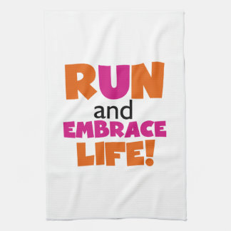 Orange Pink Text Fitness Running Runner Marathon Kitchen Towel