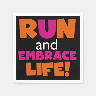 Orange Pink Text Fitness Running Runner Marathon Paper Napkin